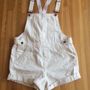 H&M Off-White Denim Overall Shorts